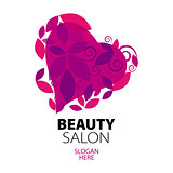 logo heart of red leaves to the beauty salon