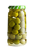 green olives in glass jar