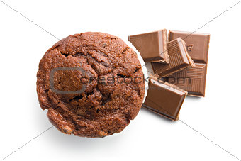 top view of muffin and chocolate