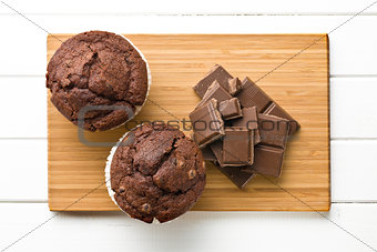 top view of chocolate and muffin