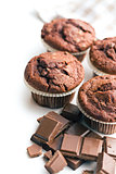 border of chocolate muffins