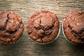 top view of chocolate muffins