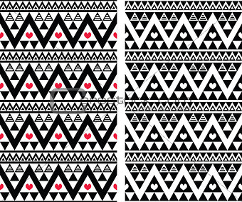 Tribal aztec colorful seamless pattern with heart - two versions