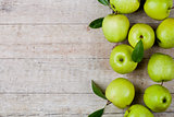 fresh green apples closeup