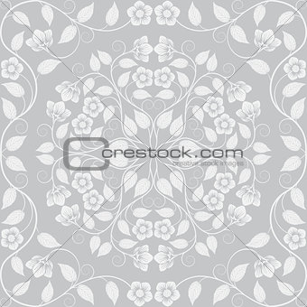 Abstract seamless floral pattern. Retro background. Vector illustration.