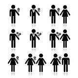 Man with flower, woman and couples icons set
