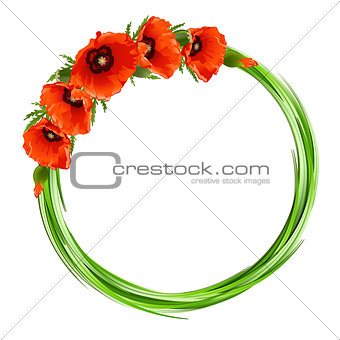 Floral round frame with red poppies.