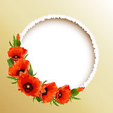 Red poppies floral round frame