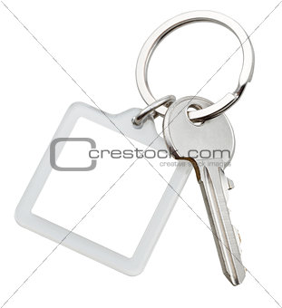 one door key and square keychain on ring