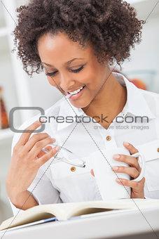 African American Girl Woman Reading Drinking Coffee Tea