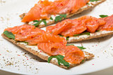 Salted salmon on crispy bread with cheese and arugula