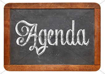 agenda word on blackboard