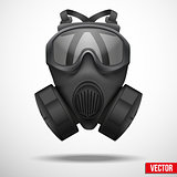 Military black gasmask respirator.