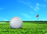 Golf Ball on Turf with Flag and Blue Sky