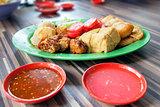 Ngo Hiang Dish with Sausage Tofu Fishballs and Dipping Sauce
