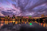 Portland Oregon Waterfront Skyline After Sunset