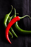 Red and green chili peppers