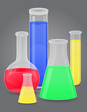 glass test tube with color liquid vector illustration