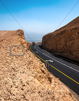 Road in the Desert of Israel on the way to Dead Sea