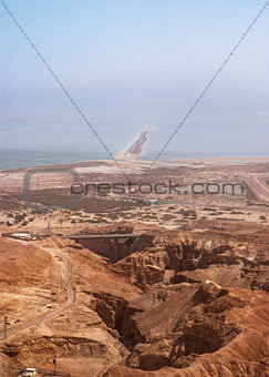 View on Dead Sea from Masada fortress, Israel