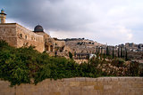 Jerusalem View on the Mount of Olives from Al-Aqsa mosque
