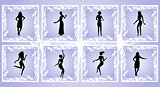 Female silhouettes on grunge background