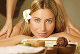 Beautiful woman on massage table