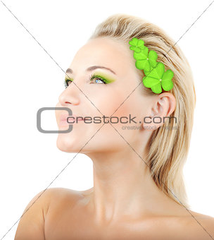 Beautiful woman with wreath of clover