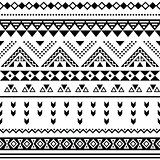 Tibal seamless pattern, white aztec prin black on background