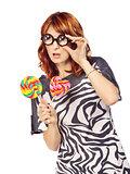 Crazy Woman With Lollipop