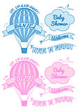 new baby boy and girl with hot air balloon, vector