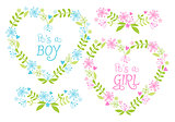 Baby boy and girl, floral hearts, vector