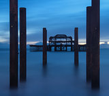Blue hour landscape of destroyed old pier long exposure