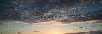Beautiful panorama sunrise blue sky
