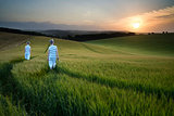 Concept landscape young boys walking through field at sunset in