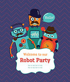 Robot Party Invitation Card Design. Vector Illustration