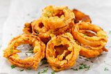 Homemade crunchy fried onion rings