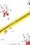 Yellow crime scene cordon tape isolated on white background with blood splatter