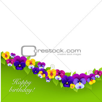 Background With Pansies And Leaf