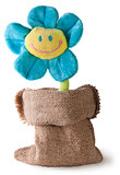 Plush flower in sack