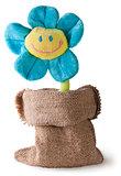 Plush flower in sack