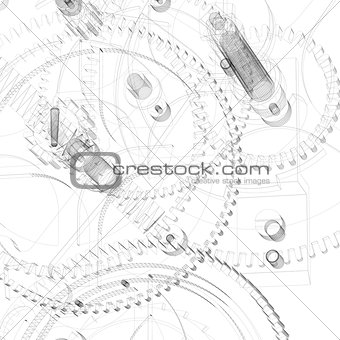 Clock mechanism. Wire-frame render
