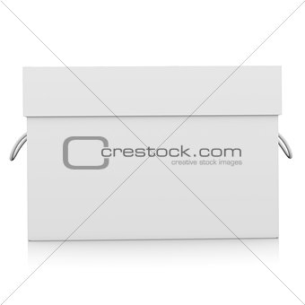 Closed white cardboard package box