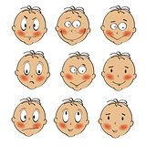 baby boy faces collection on white background