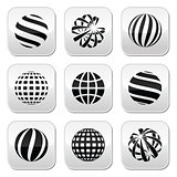 Globe sphere, earth vector buttons set