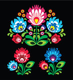 Polish floral folk embroidery pattern on black - wzor lowicki