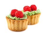 Pair of cakes basket with cream