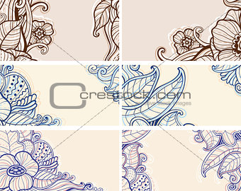 Abstract hand drawn floral  cards
