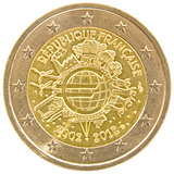 French 2 euro coin.