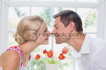 Side view of a romantic couple rubbing noses
